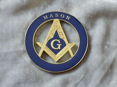 "Masonic 3"" Car Emblem Master Mason Square Compass Fraternity Metal NEW!"