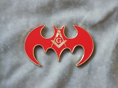 "Masonic 3"" Car Emblem Master Mason Square Compass Red Bat Shape Fraternity NEW!"