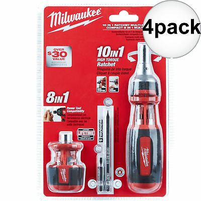 Milwaukee 48-22-2302 4pk 10in1 Ratcheting Bits+8in1 Stubby Multi Bits Drvrs New