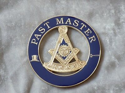 "Masonic 3"" Car Emblem Past Master with Square Gavel Top Hat Metal NEW!"