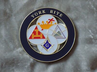 "Masonic 3"" Car Emblem York Rites Crown Cross Triple Tau Royal Select NEW!"