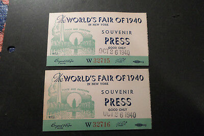 U.s. N.y.worlds Fair, 1940, 2 Souvenir Press Pases Dated 10/26, & Genl Admission