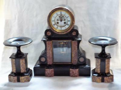 ANTIQUE  FRENCH,  MARBLE and STONE  MANTEL CLOCK  GARNITURE  19thC
