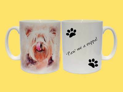 Yorkshire Terrier Dog Ceramic Mug a choice of 2 captions Paw me a cuppa! Gift