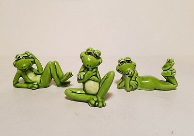 Lot of 3 Funny Frogs Figurines Cute Silly Toad Green