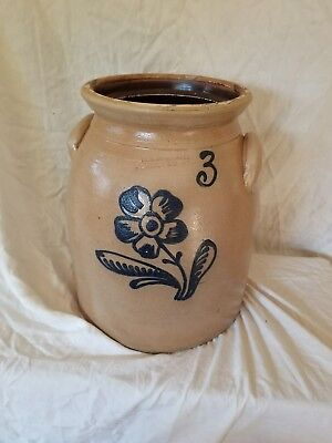 3 Gal Penn Yan Cobalt Blue Decorated  Stoneware  Flower  Mantell Crock Jar