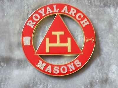 "Masonic 3"" Car Emblem York Rites Royal Arch Triple Tau Freemasonry Metal NEW!"