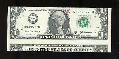 2003A ONE DOLLAR Federal Reserve Note: IMPROPERLY CUT