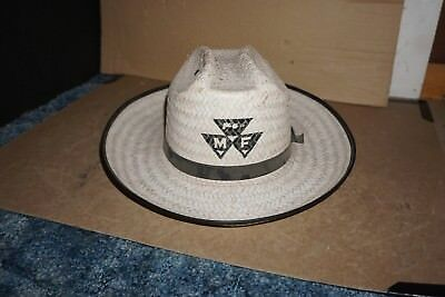 Vintage Massey Ferguson Tractor Cowboy Straw Pith Hat Cap Mf Equipment Large