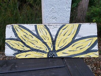Yellow Sunflower Painting on Vintage Barn Wood Art Distressed Relic Looks