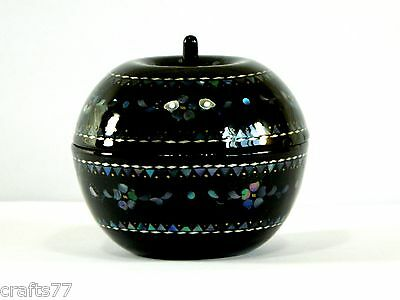 Exquisite Trinket Jewelry Box Case,Hand-Inlaid Conch Shell Flower,Apple Shape