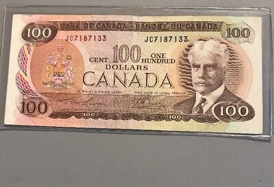 Beautiful 1975 Bank Of Canada $100 Note Canadian Bill Rare Currency Paper Money
