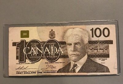 Beautiful 1988 Bank Of Canada $100 Note Canadian Bill Rare Currency Paper Money