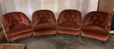 Set of 4 vintage barrel back chairs w/ casters