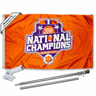 Clemson Tigers 2016 National Champions Flag Pole and Bracket Gift Package