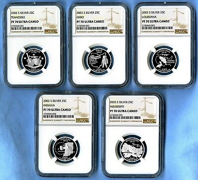 2002 S Silver State Quarters Set NGC PF70 Ultra Cameo (New Scratch-Free Holders)
