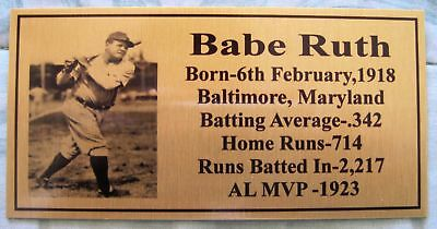 Baseball Legend BABE RUTH Gold Plaque Photo