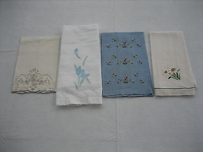 4 Vintage Different Guest Hand Towels - Embroidered, Applique, Daisies