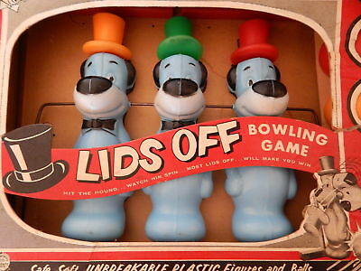1960 Huckleberry Hound LIDS OFF Bowling Game in Box Transogram