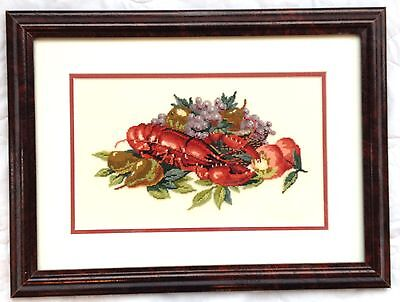 Lobster/ Kitchen Petit Point Professionally Framed Matted (693)