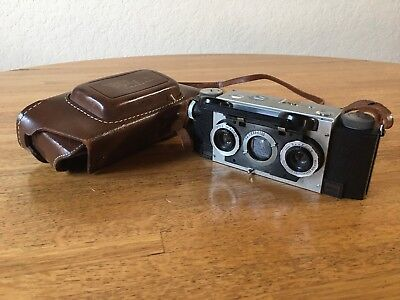 Vintage David White Stereo Realist Camera With Leather Case Excellent