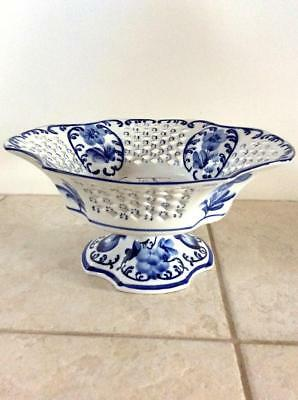 New Oriental Blue & White Porcelain Chinese Hand Finished Footed Bowl Fruit Bowl