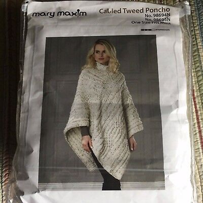 NEW Mary Maxim Cable Tweed Poncho Kit One Size Pattern & 8 Skeins Yarn 98694N