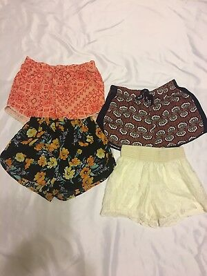 Junior Girl Lot 4 Pairs of Boho Style Shorts sz xs, small Lace Colorful