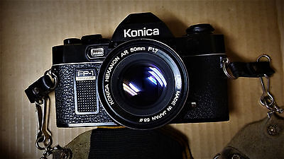 Konica FP-1 camera 35mm with Hexanon AR 50mm lens 1.7