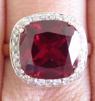 Huge Genuine 5.32ct Diamond & Ruby Cocktail Ring 9K Solid Yellow Gold