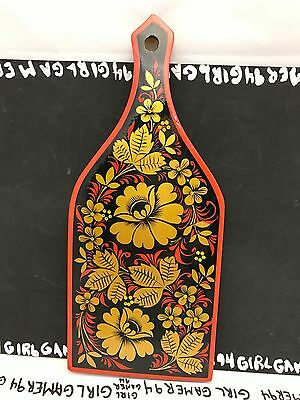 Russian Souvenir Hand Painted Wooden Flower Pattern Paddle -Wall Hang Home Decor