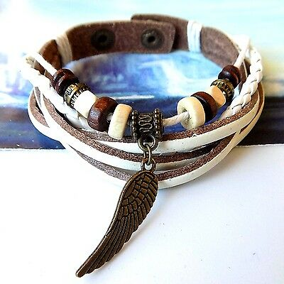 Men New Age Angel's Wing Metal Snap Closure Surfer Character Bracelet Wristband