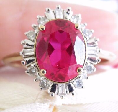 Magnificent Genuine 4.50ct Diamond & Ruby Cocktail Ring 9K Solid Yellow Gold