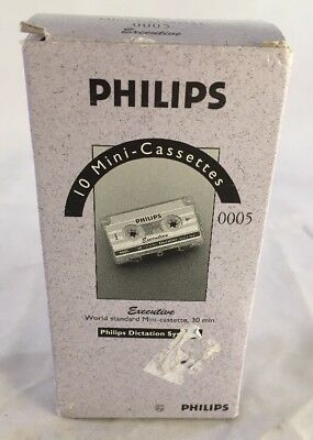Philips Executive Mini-Cassette Tapes 30 Minute Pack Of 10 W/Clips #0005