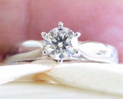 Valuation$2460 Sparkling Genuine 0.33ct Diamond Ring 18K Solid White Gold