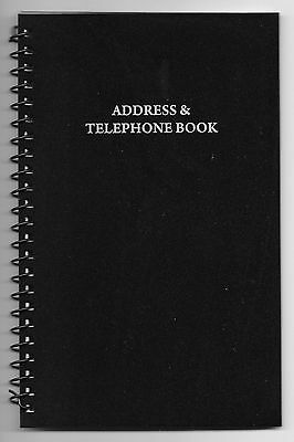 NEW! MEDIUM BLACK SPIRAL ADDRESS BOOK WITH TABBED PAGES - Large Print & English
