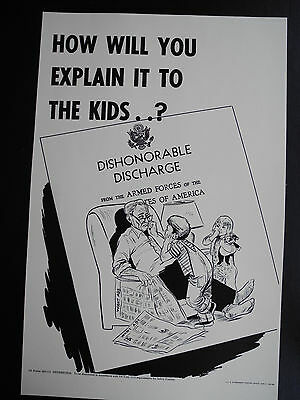 """VIETNAM WAR ERA POSTER: """"DISHONORABLE DISCHARGE"""" - 1969 US ARMY (17"""" x 11"""") RARE"""