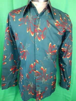 Vintage 1970s Green Patterned Polyester Emka Long Sleeve Disco Party Shirt 14 SM