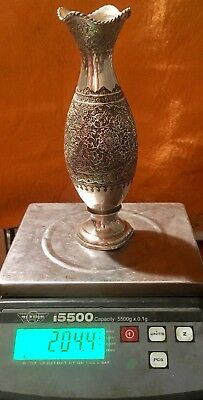 Antique Persian Isfahan 84 Silver Vase Stamped Parvaresh. 204g.