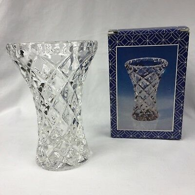 Vintage 1970's D'Adriana 24% Lead Crystal Vase 12cm Made in Yugoslavia Boxed EUC