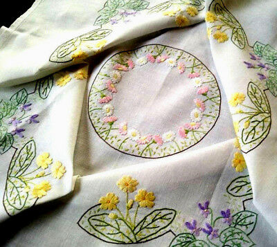 Stunning Violets/ Primroses & Daisies ~ Vintage Hand Embroidered Tablecloth