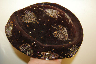 LOVELY VINTAGE HAND BEADED FELT FRENCH HAT made in France FREE SHIPPING old rare