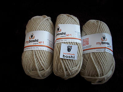 my boshi Wolle Nr.1 Farbe: Beige 3 Knäuel a50gr.+1 Label