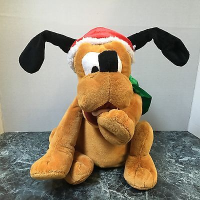 "Disney Mickey Mouse Pluto Dandee Christmas Musical Dancing 10.5"" Tall Plush Doll"