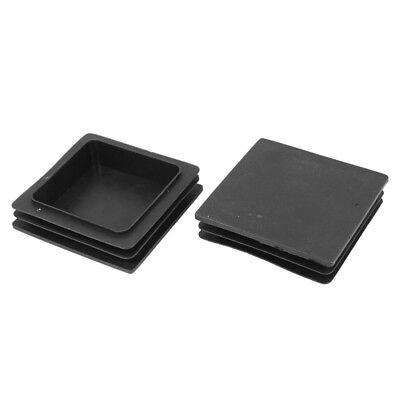 100mm x 100mm Plastic Ribbed Square End Caps Cover Tube Inserts 2 Pcs SS