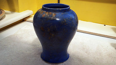 Hollinshead & Kirkham  [H&k]  Blue And Yellow Mottled Vase