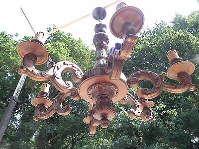 Large hand carved wooden chandelier 6 Arms