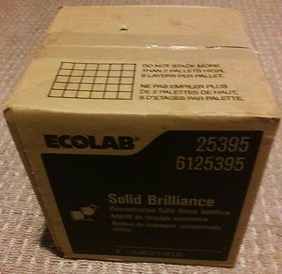 New! 1 Unopened Carton of 2 ECOLAB #25395 Solid Brilliance Rinse Additive