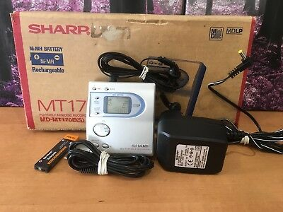 Boxed Sharp MD-MT170E Portable Minidisc Player Recorder & Original Accessories