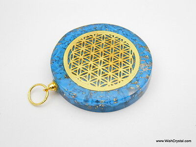 Halo Turquoise Orgone Healing Pendant With Infinity Flower Of LIfe Metal Pendant